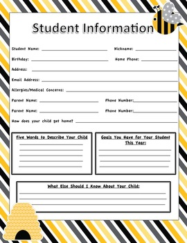 Student Information Sheets - Bee Themed Classroom