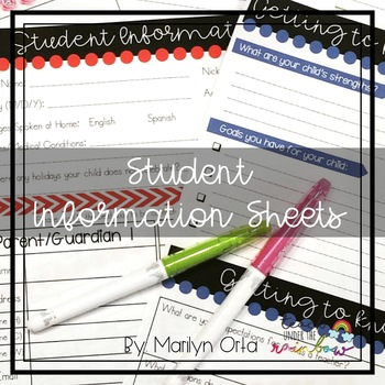 Student Information Sheets (Cactus + More) Spanish & English
