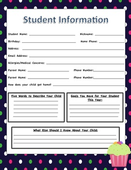 Student Information Sheets - Cupcake Themed Classroom