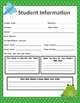 Student Information Sheets - Frog Themed Classroom