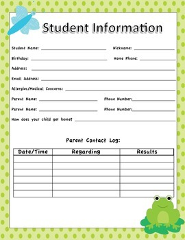 Student Information Sheets - Frog Themed Classroom - Bright
