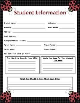 Student Information Sheets - LadyBug Themed Classroom