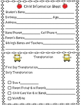 Student Information Sheets (Open House)