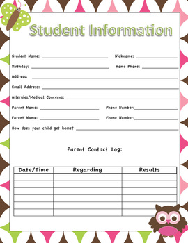 Student Information Sheets - Owl Classroom