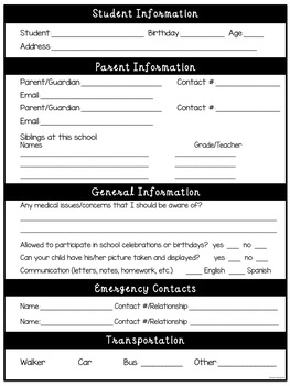 Student Information Sheets (Parent Contact) [English and Spanish]