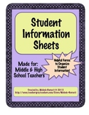 Student Information Sheets for Middle and High School Teachers