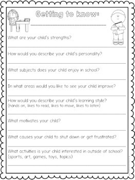 Back to School Freebie: Getting to Know You Surveys & Forms