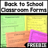 Back to School Forms and Getting to Know You Activity