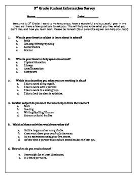 Student Information Survey 3rd Grade