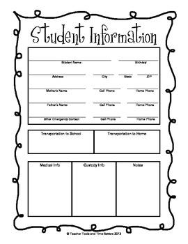Student Information Teacher Forms