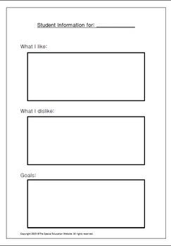 Student Information Worksheet