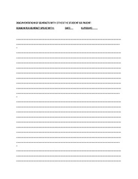 Student Information Worksheet and Parent Contact Log