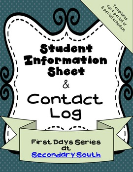 Student Information and Contact Log Printable