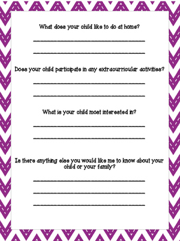 Student Information and Parent Helper Forms-Purple