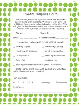 Student Information and Parent Helpers