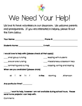 Student Information and Volunteer Form