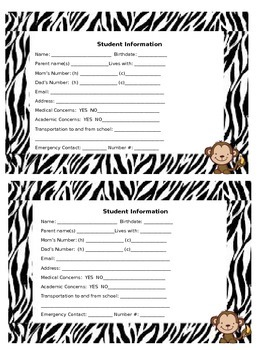 Student Information card zebra and monkey theme