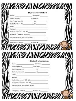 Student Information card zebra and monkey theme