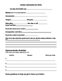 Student Information worksheet for ESOL