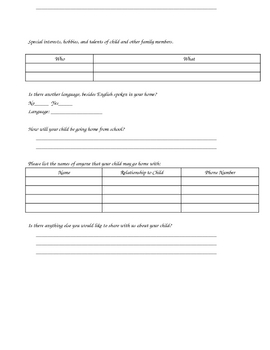 Student Information/Contact Form