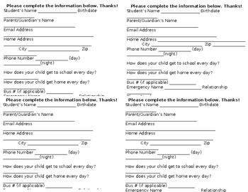Student Information/Parent Contact Card
