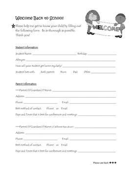 Student Informational Sheet