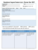 Student Input/Interview Form for IEP in ENGLISH