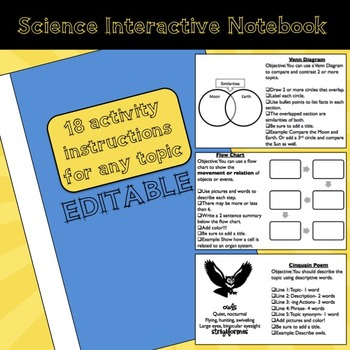 Student Instructions and Strategies for Science Interactive Notebooks-- Editable