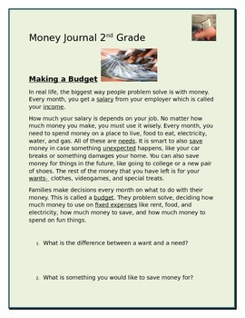 2nd Grade Money Unit Student Interactive Journal