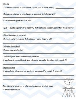 Student Interest/Home Survey 3-6 SPANISH Encuesta estudiantil