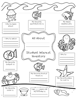 image about Interest Inventory for Elementary Students Printable referred to as College student Consideration Stock Worksheets Training Supplies TpT
