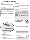 Student Interest Inventory - Get to know your students!