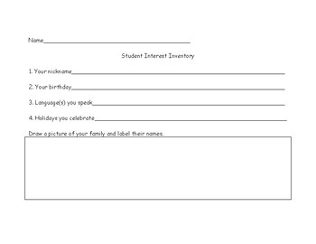 Student Interest Inventory - Back to School/Getting to Know You