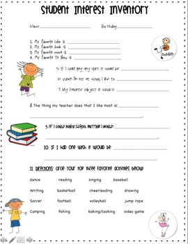 photograph relating to Interest Inventory for Middle School Students Printable named Pupil Focus Stock Worksheets Instruction Elements TpT