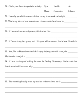Student Interest Inventory / Student Questionnaire