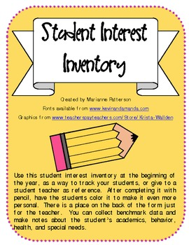 Lucrative image inside interest inventory for elementary students printable