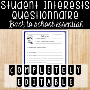 Student Interest Survey - Back to School Essential