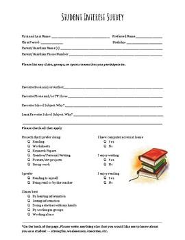 Student Interest Survey - English