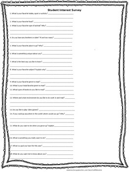 Student Interest Survey and Reading Inventory Questionare
