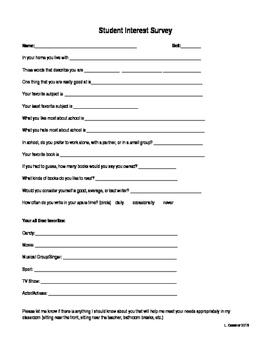 Student Interest Survey for ELA classrooms
