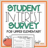 Student Interest Survey for Upper Elementary