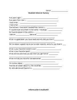 Student Interest Survey in English and Spanish