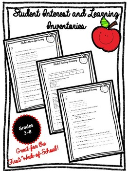 3 Student Surveys for the First Week of School {Learning & Interest Inventories}
