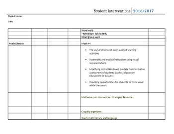 Student Interventions for Literacy and math Checklist