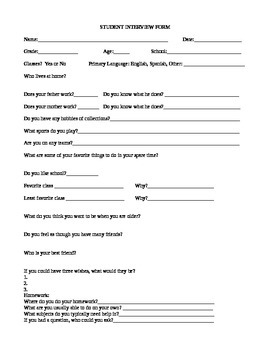 Student Interview Form