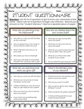 Student Interviews Getting To Know Your Classmates By
