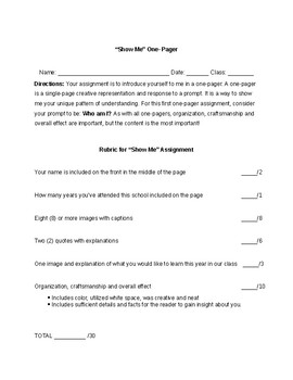 Student Introduction One-Pager Activity