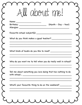 Student Introduction Sheet
