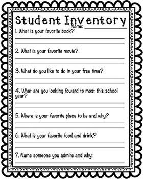 Student Inventories Grades K-8