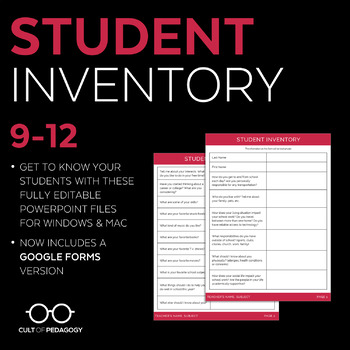 Student Inventory: Grades 11-12 (Editable)